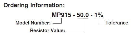 Caddock MP930 Series ordering information