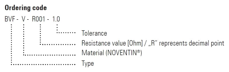 BVF Part Number Example