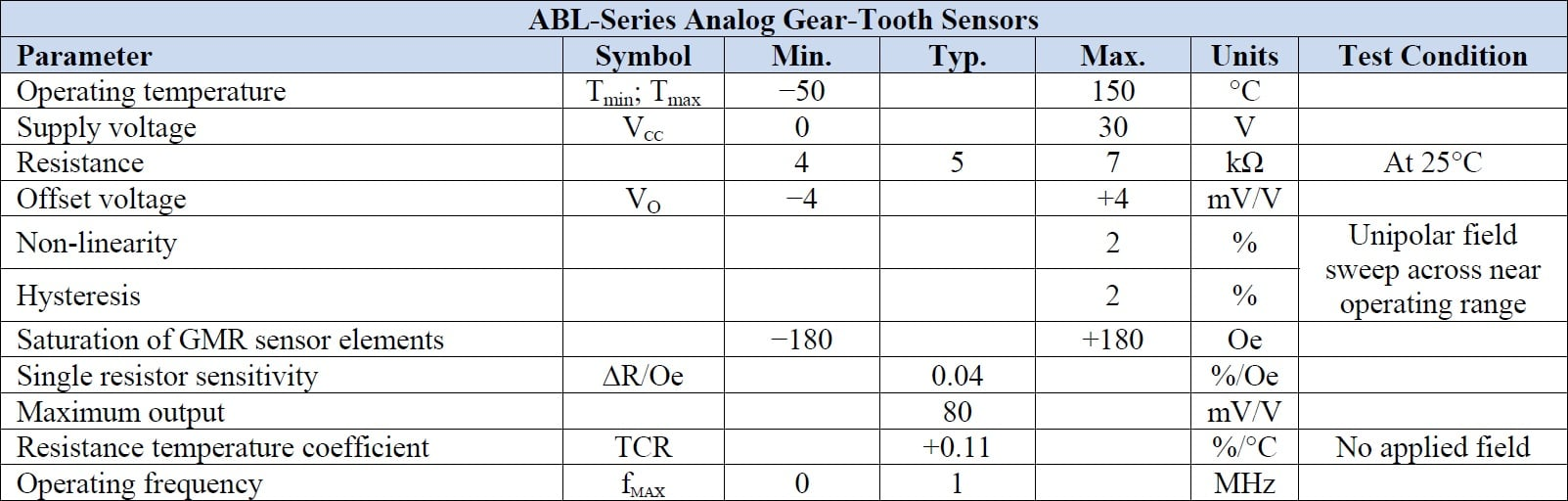 NVE ABL014-10E Specifications