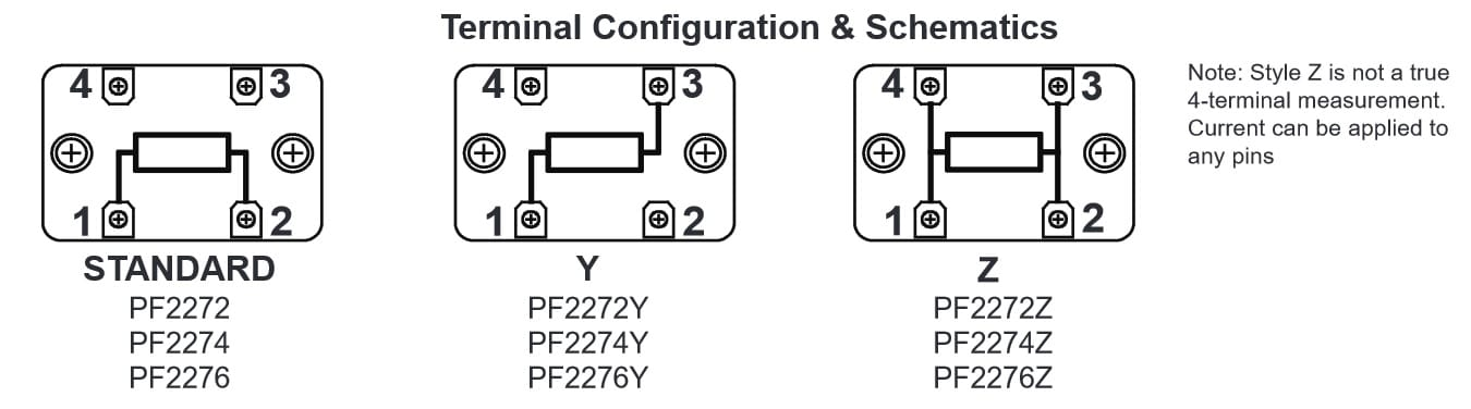 Riedon PF2272 Terminal configuration options