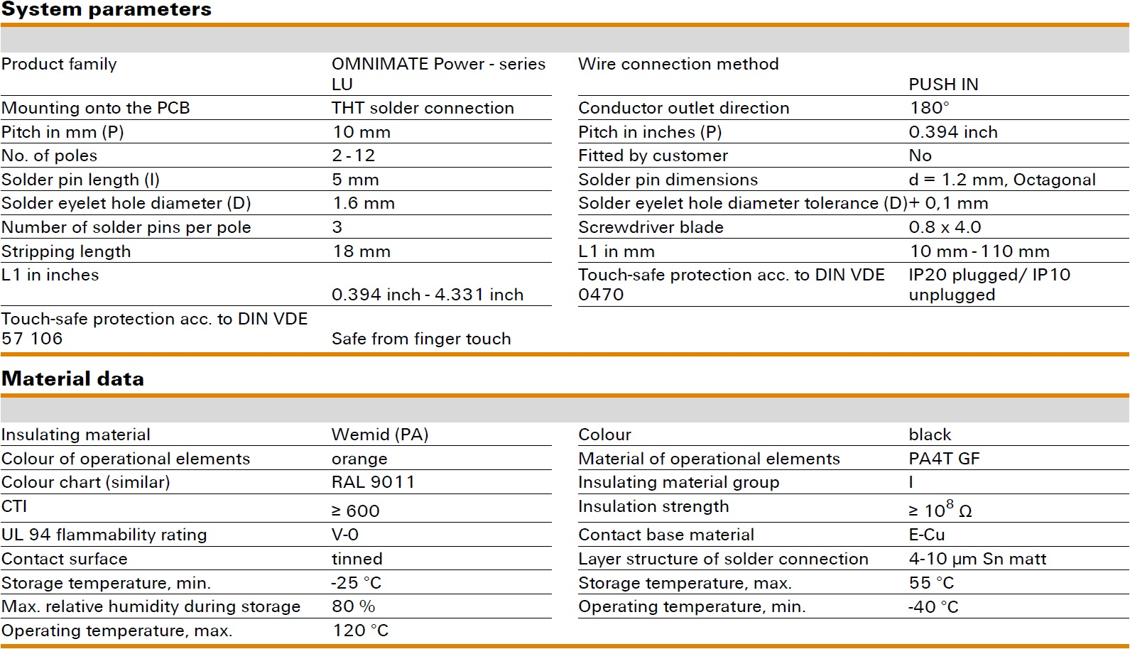 Weidmüller LUFS 10.00/180V Specifications