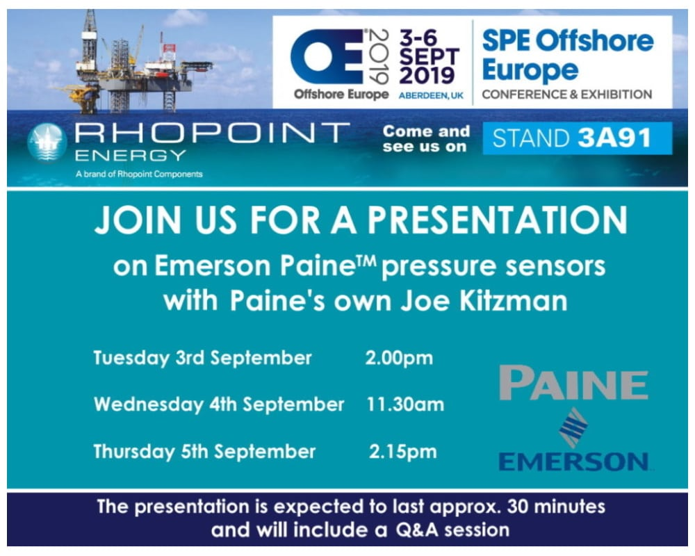 Offshore Europe exhibition invitation to Paines Prenetations