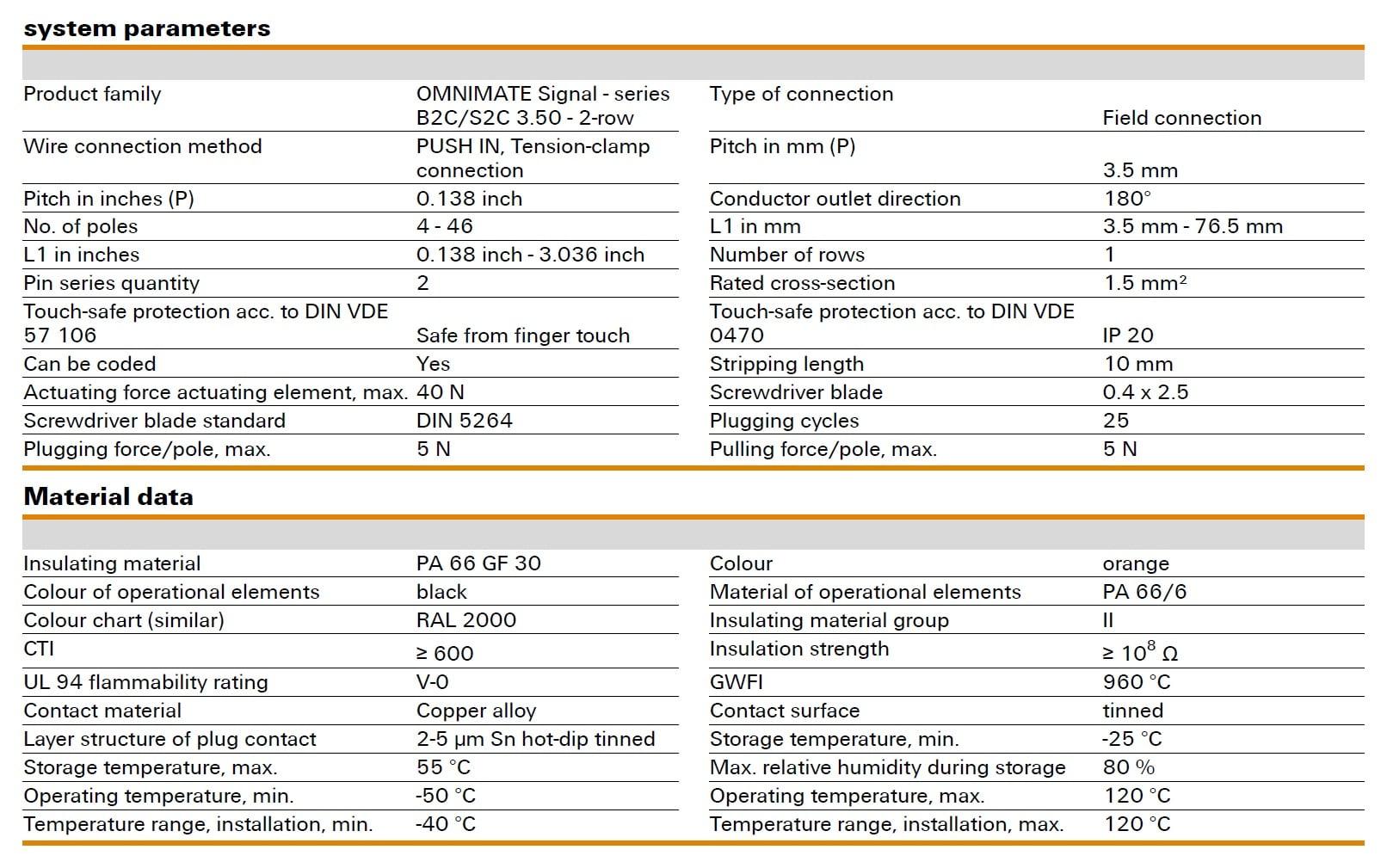 Weidmüller B2CF 3.50/180 Specifications