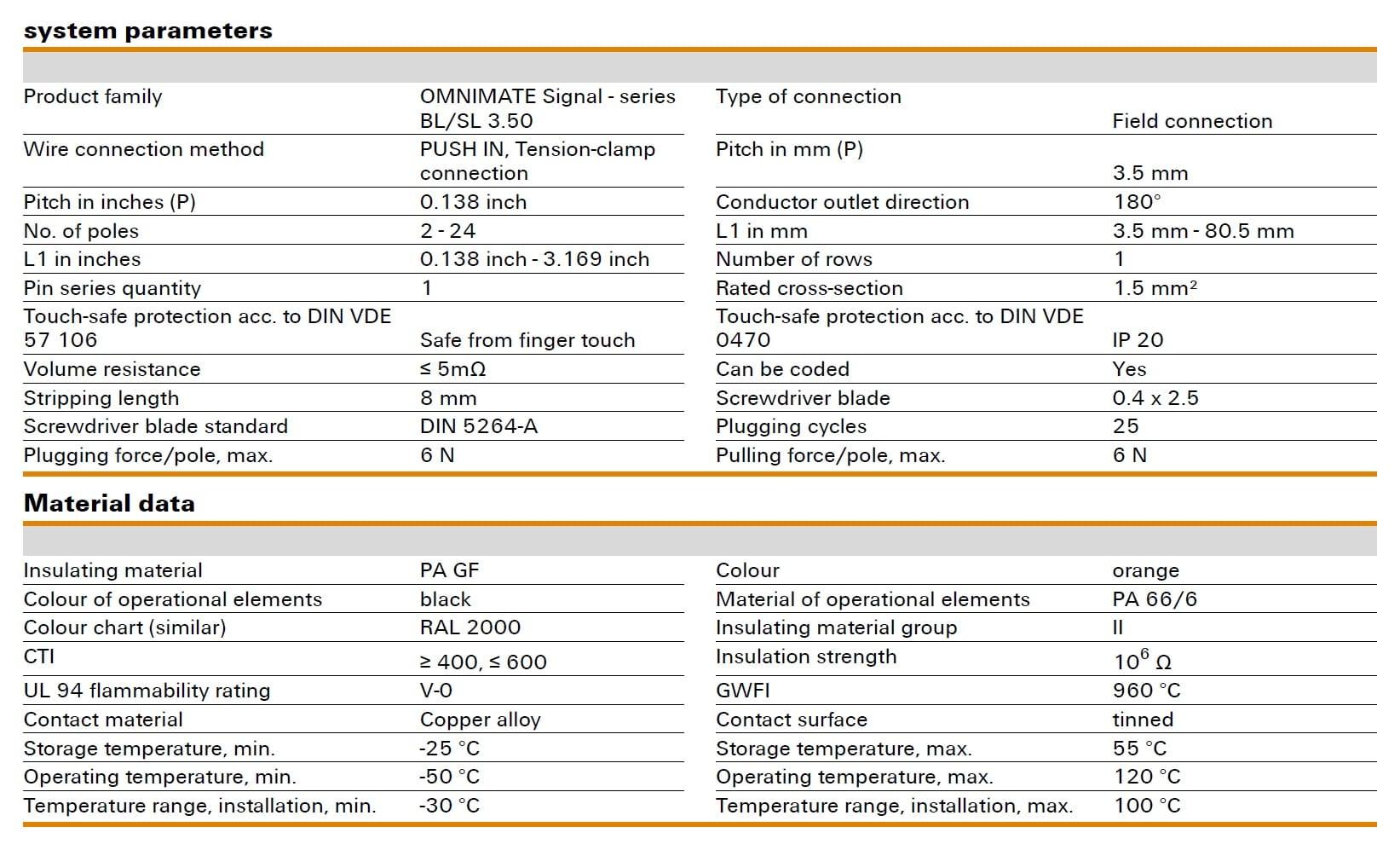 Weidmüller BLF 3.50/180 Specifications