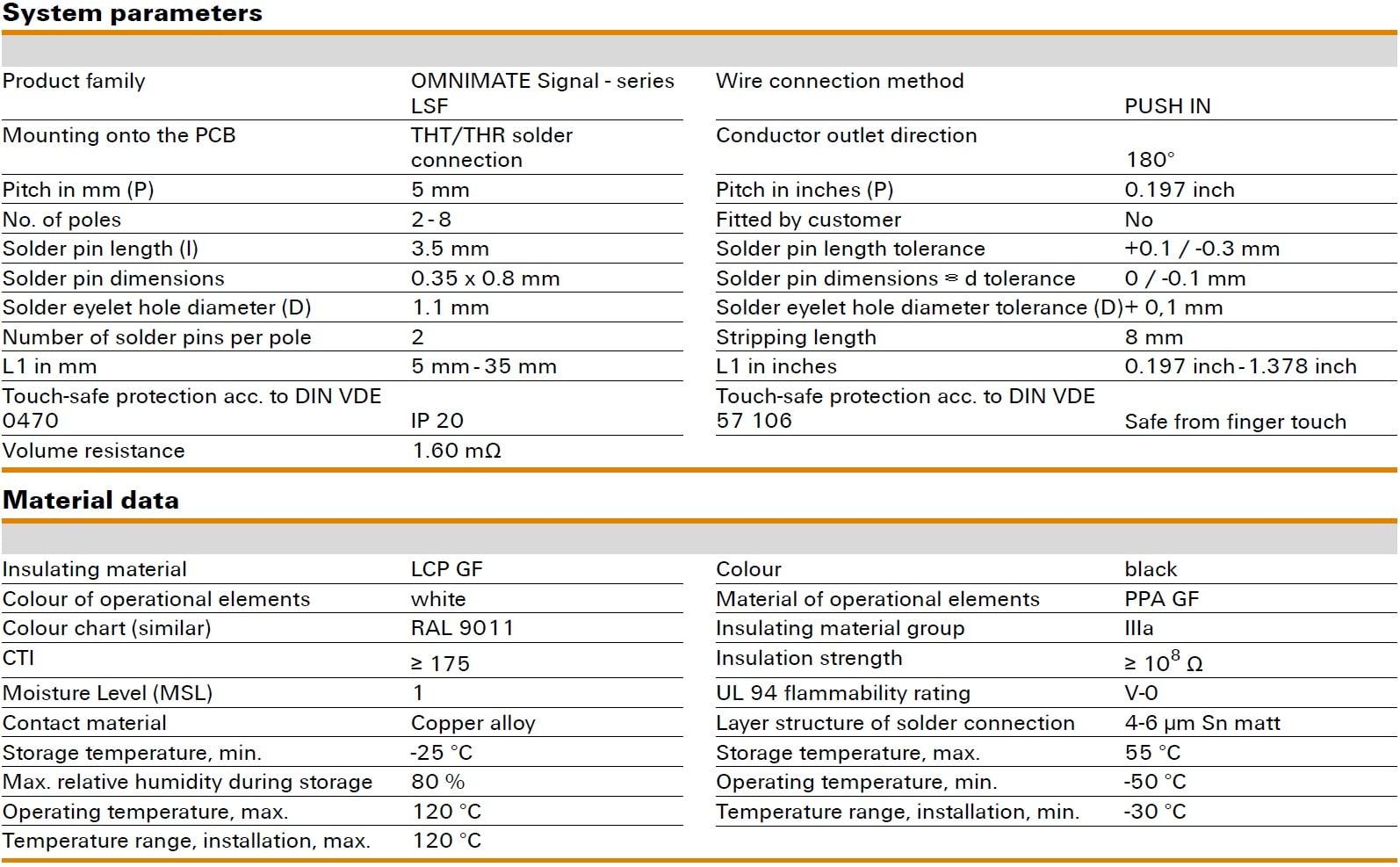 Weidmüller LSF-SMT 5.00/180 Specifications