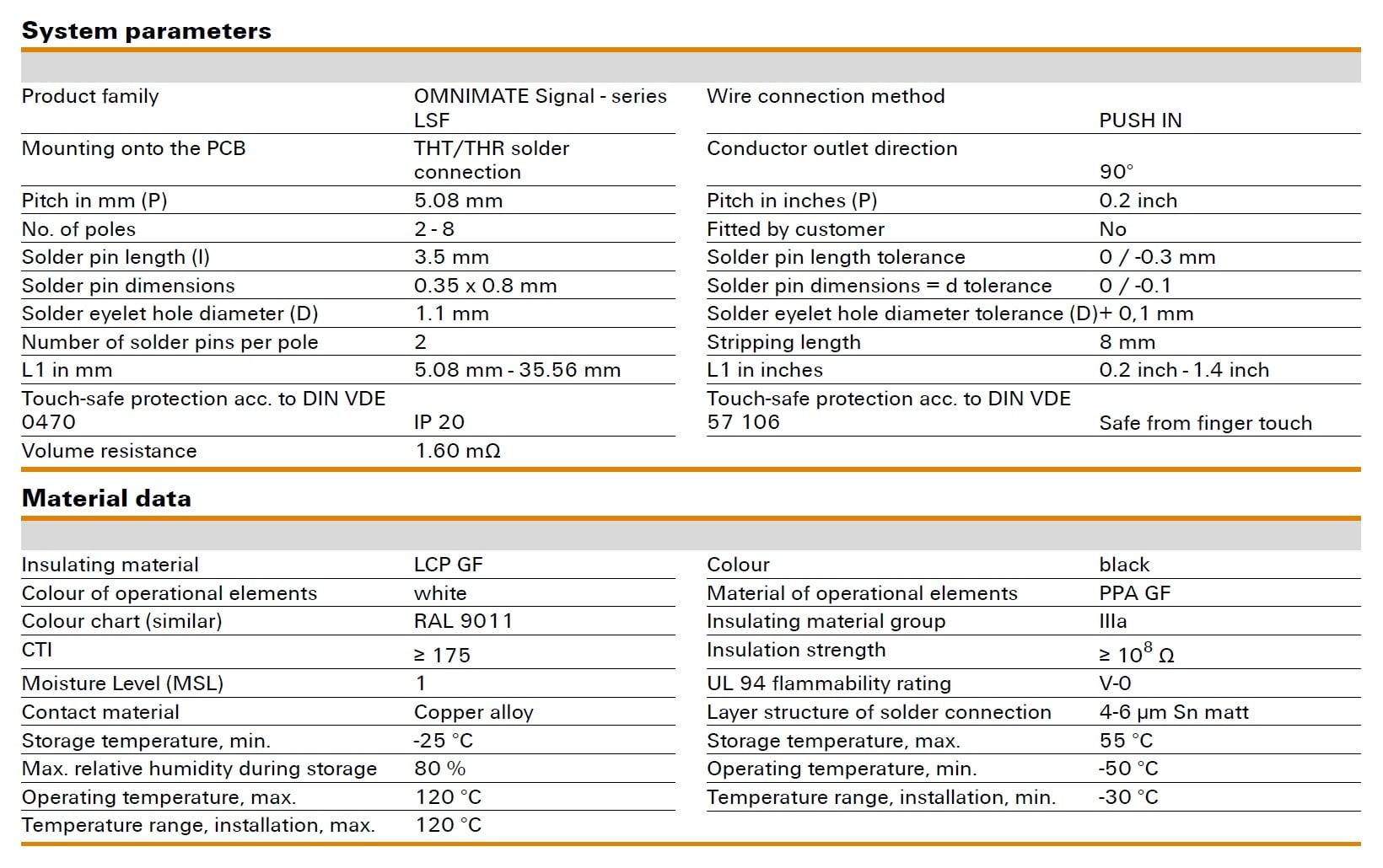 Weidmüller LSF-SMT 5.08/90 Specifications
