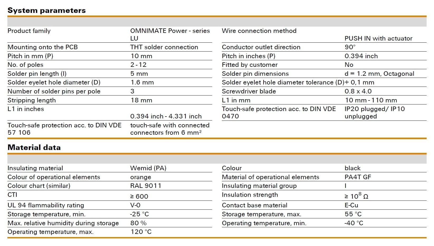 Weidmüller LUF 10.00/90V Specifications