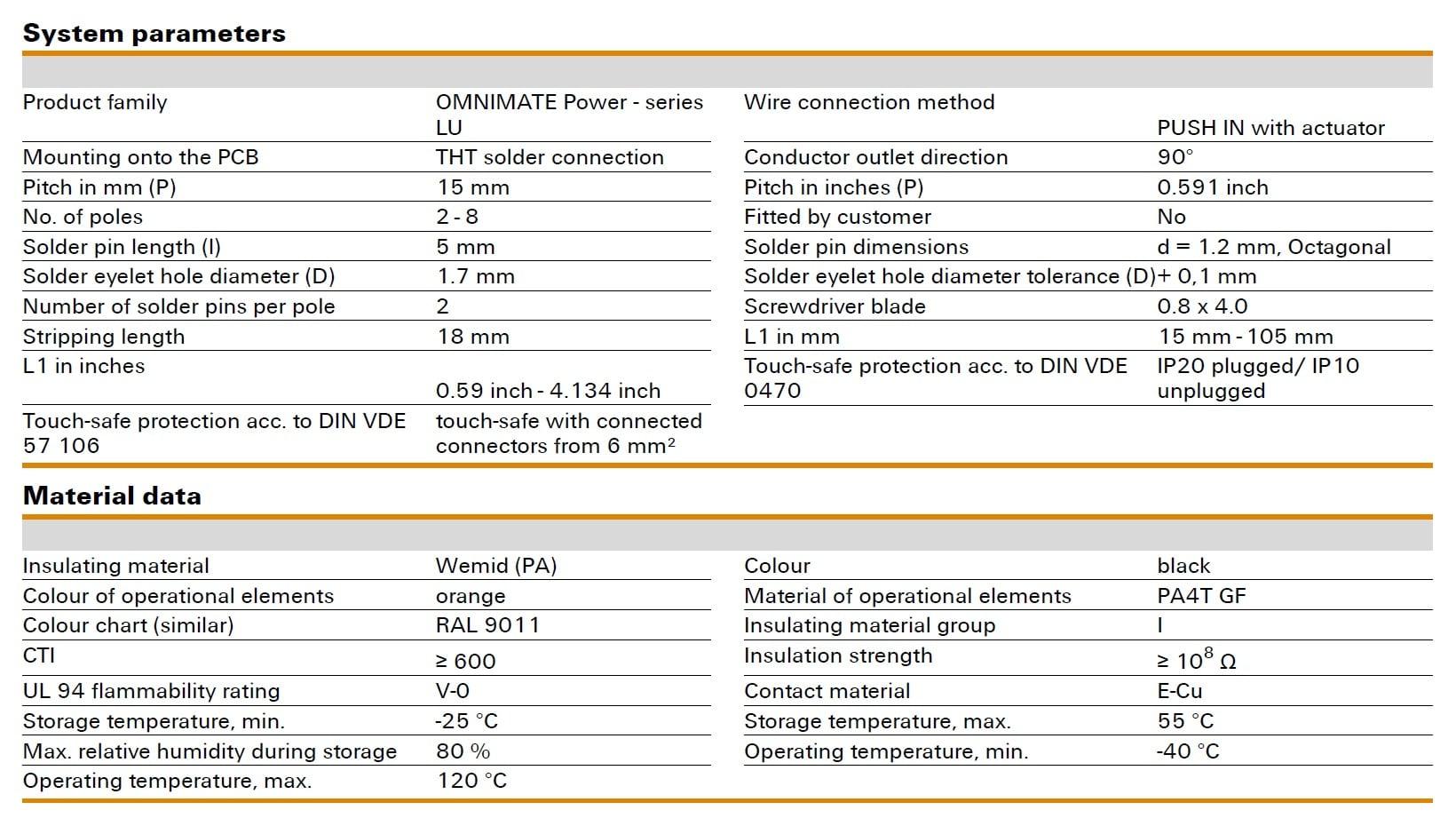 Weidmüller LUF 15.00/90V Specifications