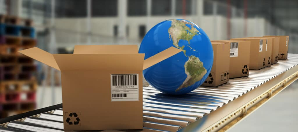 Image showing a world and boxes rolling down a metal belt