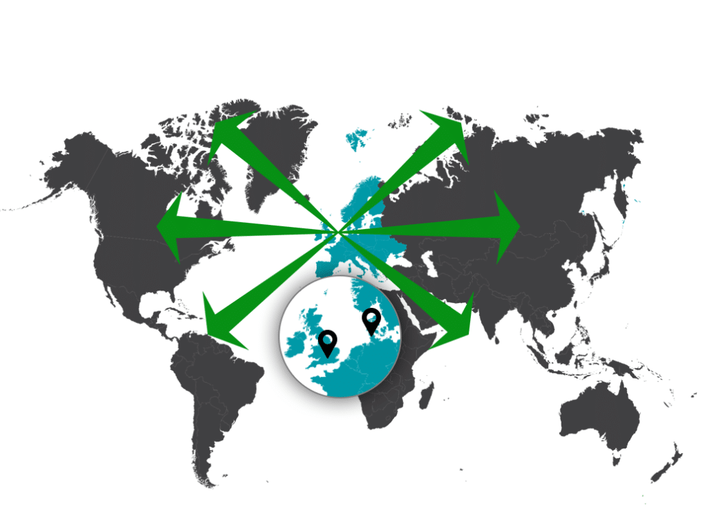 Map of the world highlighting Rhopoint office locations and showing arrow for Rhopoint's global reach