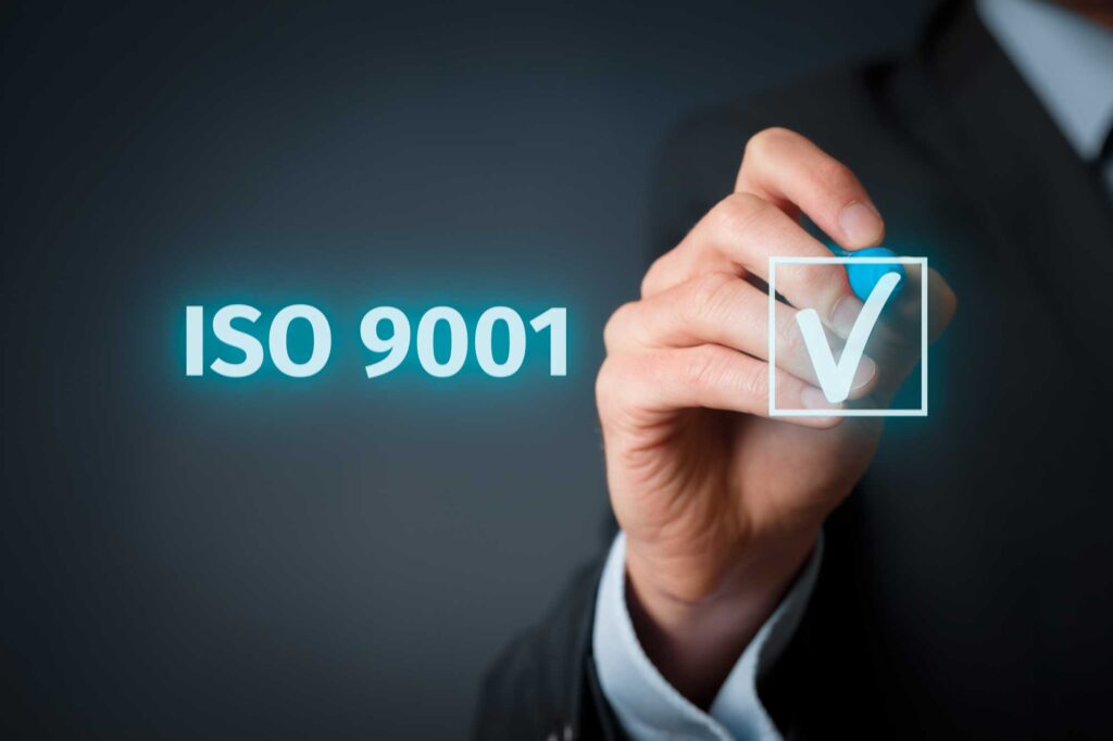 Accreditation Image showing ISO 9001 being ticked