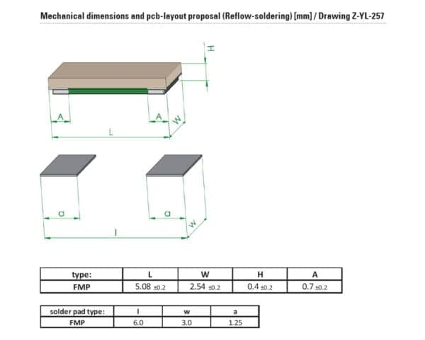 Drawing and Dimensions of FMP resistor from Isabellenhuette