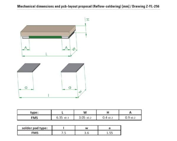 Drawing and Dimensions of FMS resistor from Isabellenhuette