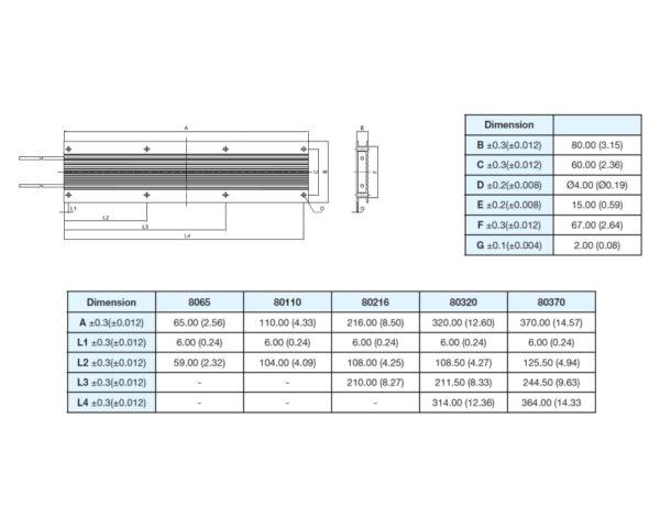 Powertron FHR2-80xx precision power resistor series drawing image