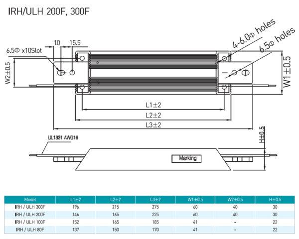 RARA IRH / ULH 200F, 300F Product Dimensions